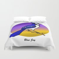 jay fleck Duvet Covers featuring BLUE JAY by SCREAMNJIMMY