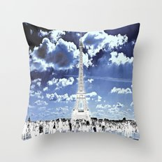Tower Tourists in Reverse Throw Pillow