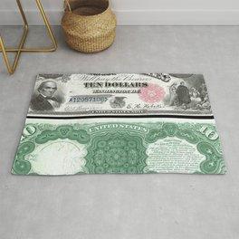 1880 Series U.S. Federal Reserve Ten Dollar Indian Princess Pocahontas being present to the royal E Rug