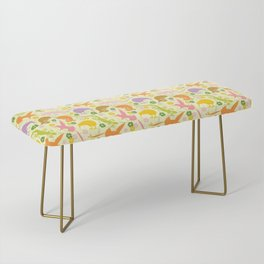 Animals Exotic Pastel Colors Shapes Pattern Bench