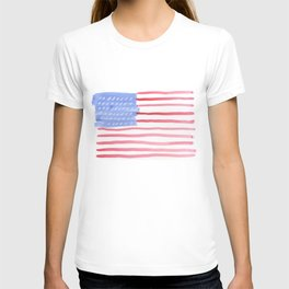 American Flag 4th of July watercolor design T-shirt