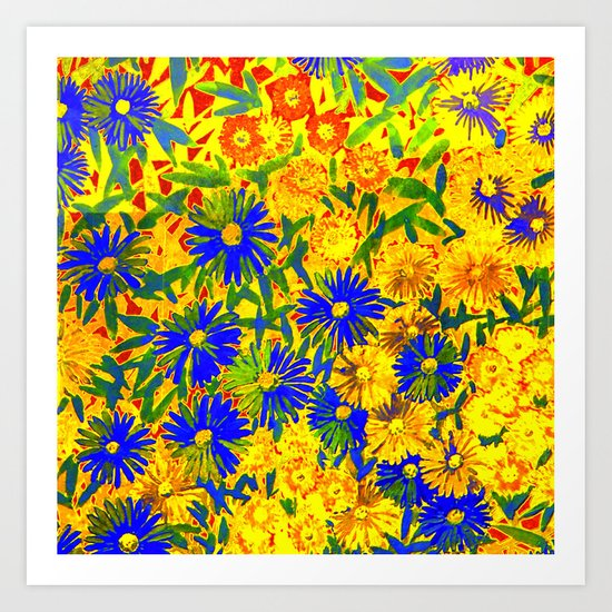 blue flowers by a sunny day Art Print
