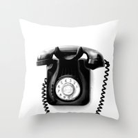 telephone Throw Pillows featuring Telephone by Plasmodi