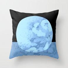blue moon floral Throw Pillow