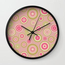 Pastel circles (pink) Wall Clock