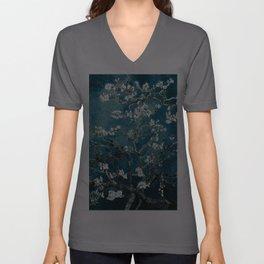 Van Gogh Almond Blossoms : Dark Teal Unisex V-Ausschnitt