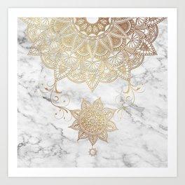 Mandala - Golden drop Art Print