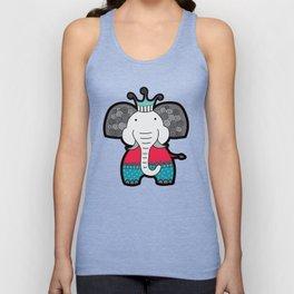 Doodle Elephant on Blue Background Unisex Tank Top