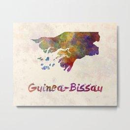 Guinea-Bissau in watercolor Metal Print