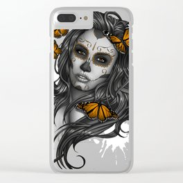 Sugar Skull Tattoo Girl with Butterflies Clear iPhone Case