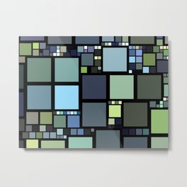 Analogous Color Block/Tile Art (muted shades of green, blue, slate blue, and grays) Metal Print