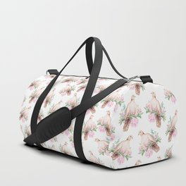 Hand painted modern pink brown watercolor peonies dove pattern Duffle Bag