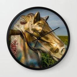 Hobby Horse in a Corn Field Route 66 Illinois Roadside Wall Clock