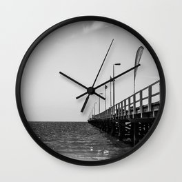 Jetty in Black and White Wall Clock