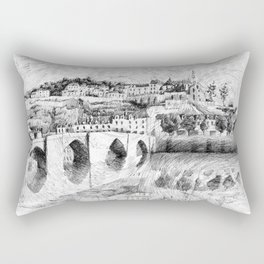 Terrasson village - France drawing Rectangular Pillow