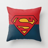 dc comics Throw Pillows featuring Super Man Logo Minimalist Art Print DC Comics by The Retro Inc