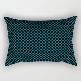 Black and Ocean Depths Polka Dots Rectangular Pillow