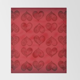 'Off With His Head Red Hearts Pattern' Wonderland styled design by Dark Decors Throw Blanket