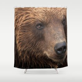 Awe Inspiring Grown Grizzly Bear Head Face Close Up Ultra HD Shower Curtain