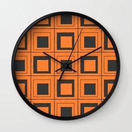 Orange Squares Wall Clock