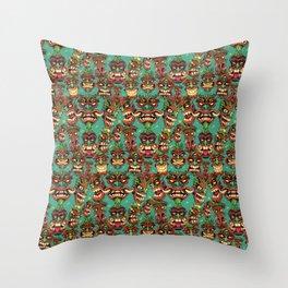 Tiki Head Pattern Throw Pillow