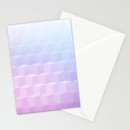 Pastel Cube Pattern Ombre 1 - pink, blue and vi Stationery Cards
