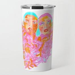 Pink Ladies blue hair pink boa gemini twins Travel Mug