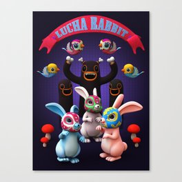 Lucha Rabbit Canvas Print
