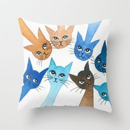 Chantilly Whimsical Cats Throw Pillow