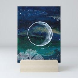 Crescent Moon Mixed Media Painting Mini Art Print