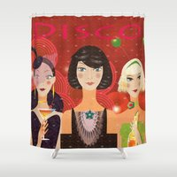 disco Shower Curtains featuring Disco by Jonny Bateau