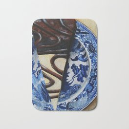 Brownie Cheesecake on Blue Willow Plate Bath Mat