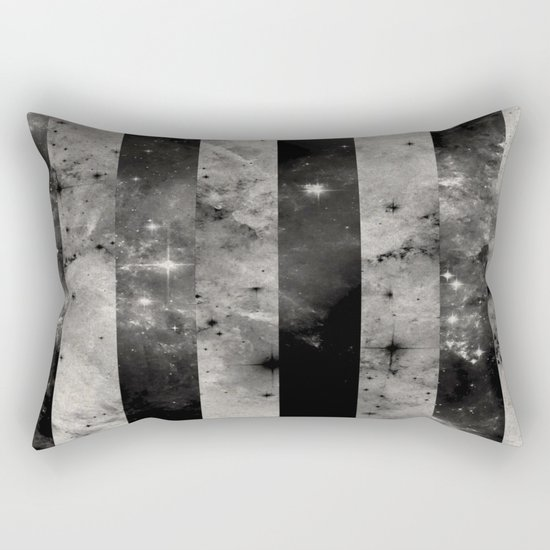Stripes In Space - Black and white panel effect space scene Rectangular Pillow