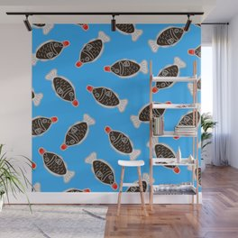 Sushi Soy Fish Pattern in Blue Wall Mural