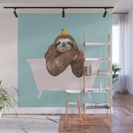 Sloth in Bathtub  Wall Mural