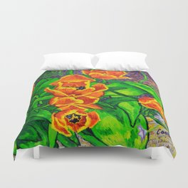 View of Tulips Duvet Cover