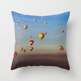 Fairytale dreams of hot air balloons Throw Pillow