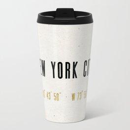 Vintage New York City Gold Foil Location Coordinates with map Travel Mug