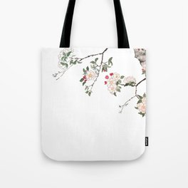 pink cherry blossom Japanese woodblock prints style Tote Bag