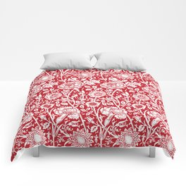 "William Morris Floral Pattern | ""Pink and Rose"" in Red and White Comforters"