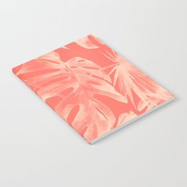 Living Coral Tropical Palm Leaves Monstera Notebook