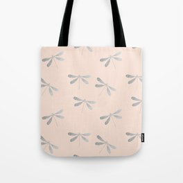 dragonfly pattern: silver & rose Tote Bag