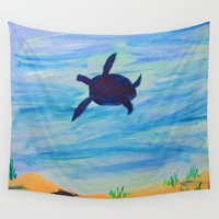 turtle Wall Tapestries featuring Turtle by Lissasdesigns