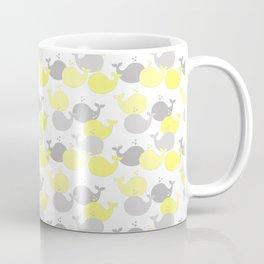 Whales Nautical Yellow Gray Coffee Mug