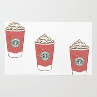 starbucks Area & Throw Rugs featuring Christmas Design Starbucks  by swiftstore