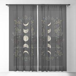 Moonlight Garden - Olive Green Sheer Curtain