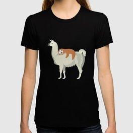 Cute & Funny Sloth Sleeping on Llama T-shirt