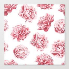 Pink Rose Garden on White Canvas Print
