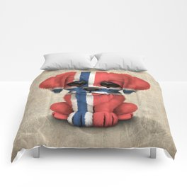 Cute Puppy Dog with flag of Norway Comforters