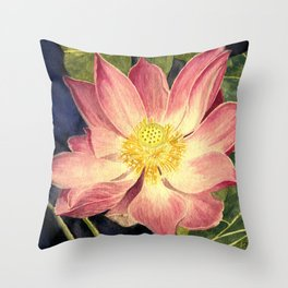 Big Lotus Watercolor Throw Pillow